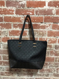 AR New York Diamond Pattern Studded Handbag