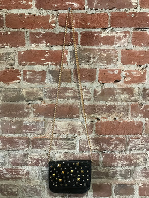 Small Leather Crossbody W/ Scattered Studs
