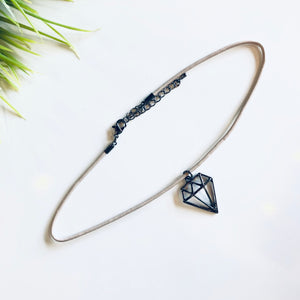Genuine Leather Diamond Choker