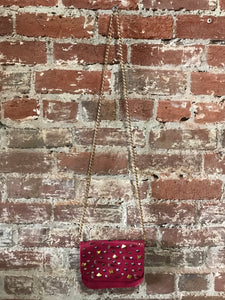 Free Culture Small Leather Crossbody W/ Scattered Studs