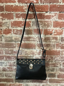 Large Leather Crossbody W/ Studded Flap