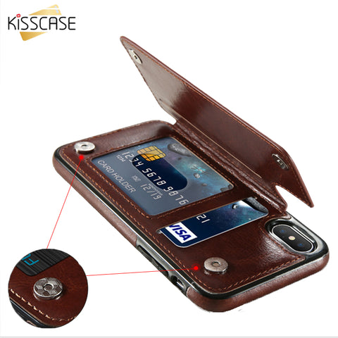 iPhone 6, 7, 8, X, , Leather Wallet Case with Card Pocket