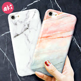 iPhone 6, 6s+, 7, 7+, 8, 8+ - Marble Phone Case, Glossy Soft Back Cover
