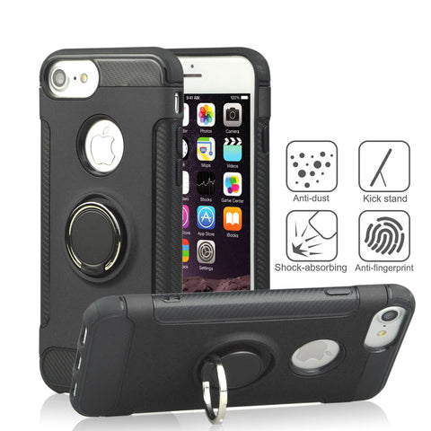 PC Phone Cover 360 Rotate Ring Holder Phone Back Case Shockproof for IPhone X 8 7 6S 6 Plus