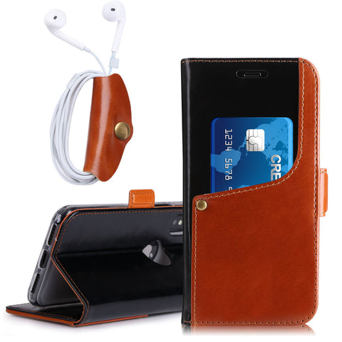 iPhone - Luxurious Genuine Leather Wallet with Kickstand Function