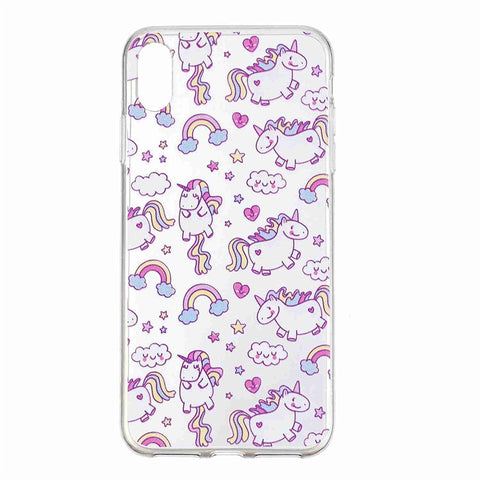 iPhone XS Transparent Phone Case Cartoon Painting