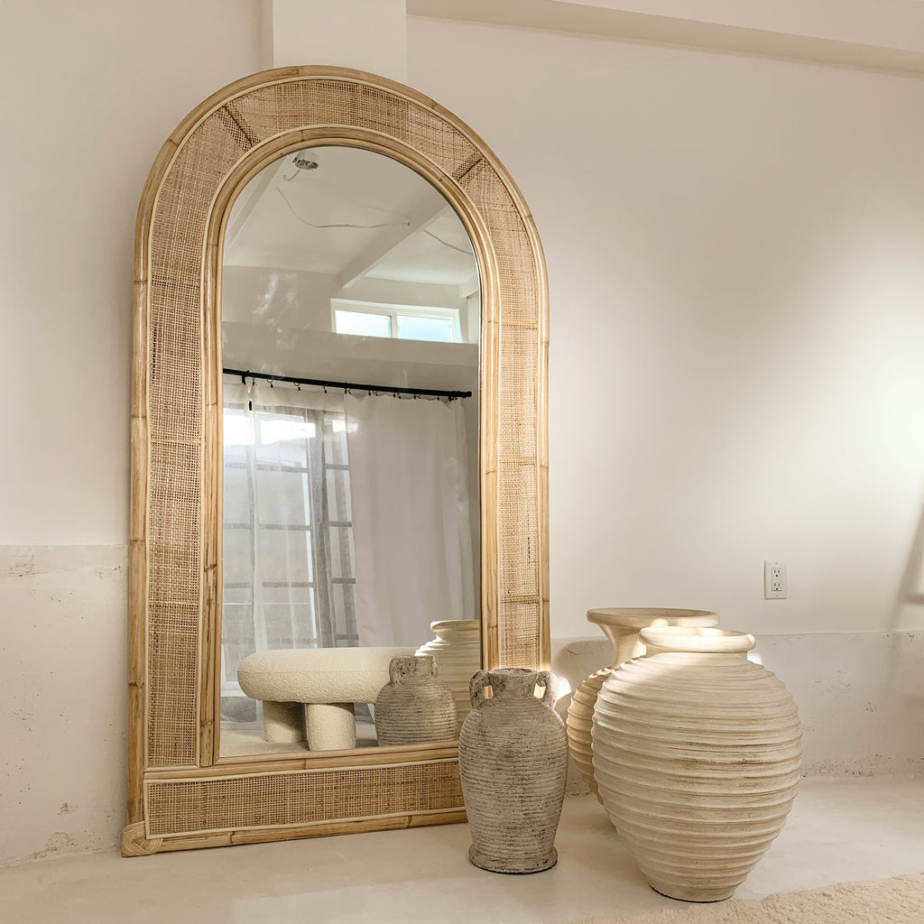 New Arcade Floor Length Rattan Mirror