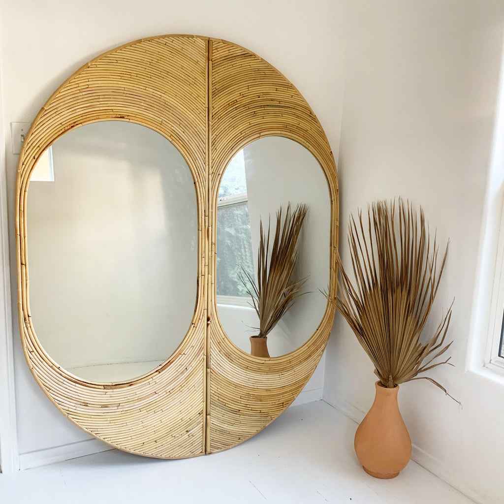 New!  Studio 54 Split Reed Rattan Full Length Wall Mirror