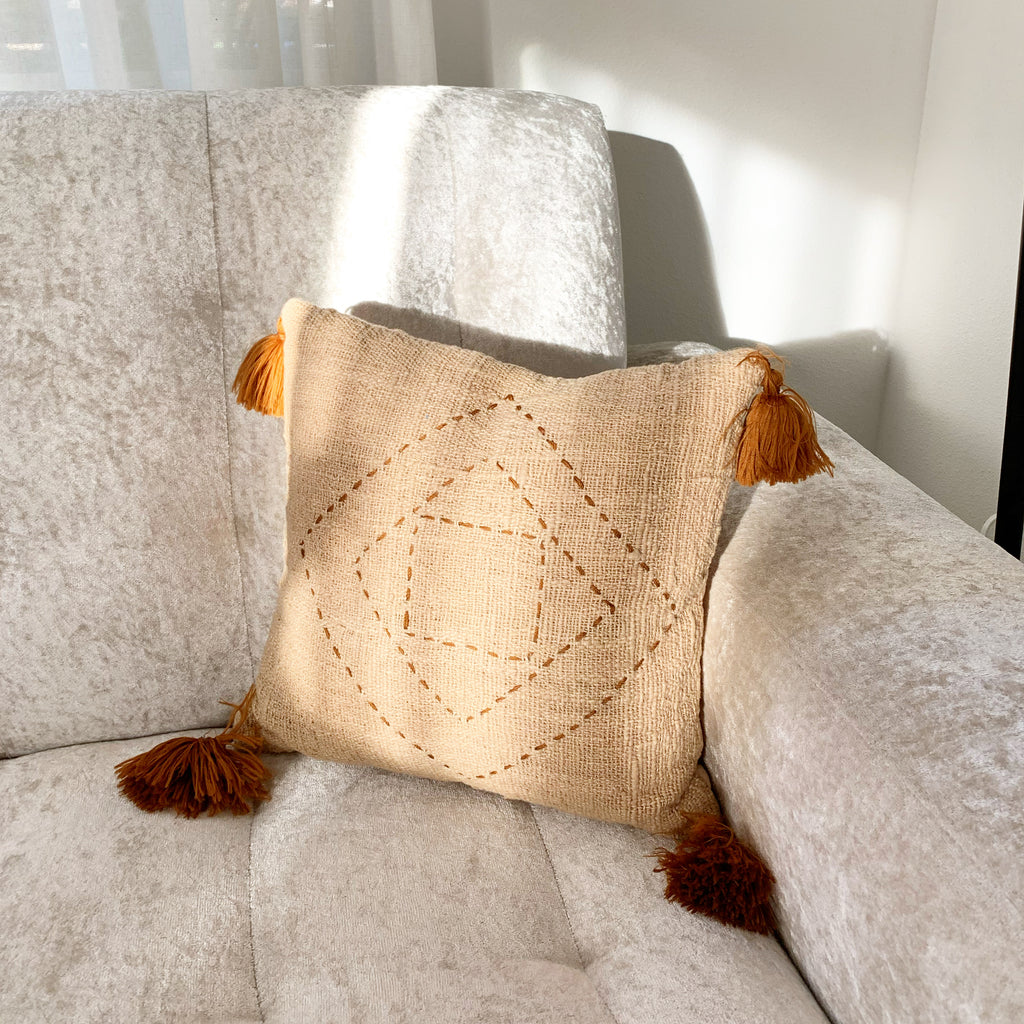 Natural Hand Woven Organic Pillow Case w/Tassels - Natural Light brown / Small