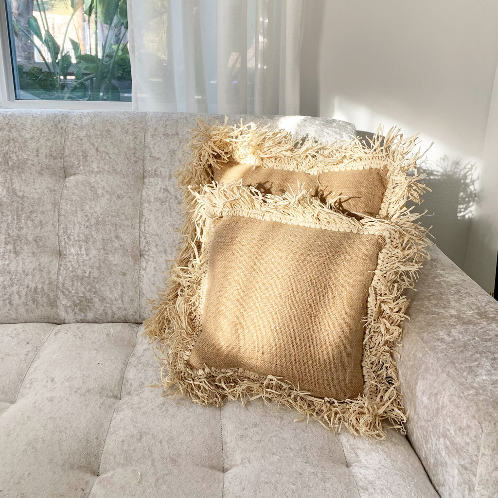 Natural Jute Raffia Pillow Set - Large, Small