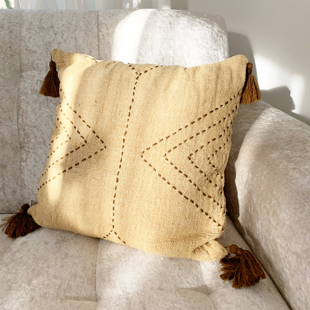 Natural Organic Hand Woven Pillow case - Neutral / Large