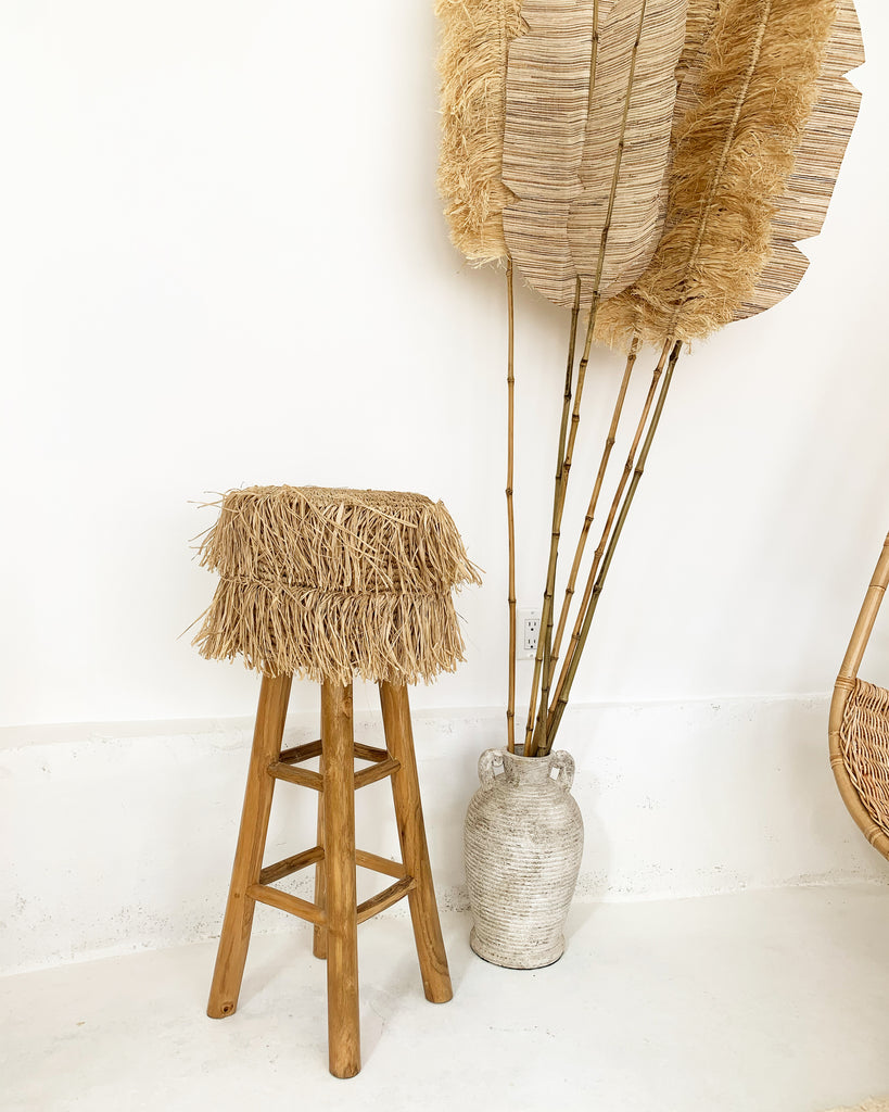 Shimmy Raffia Teak Bar Stool
