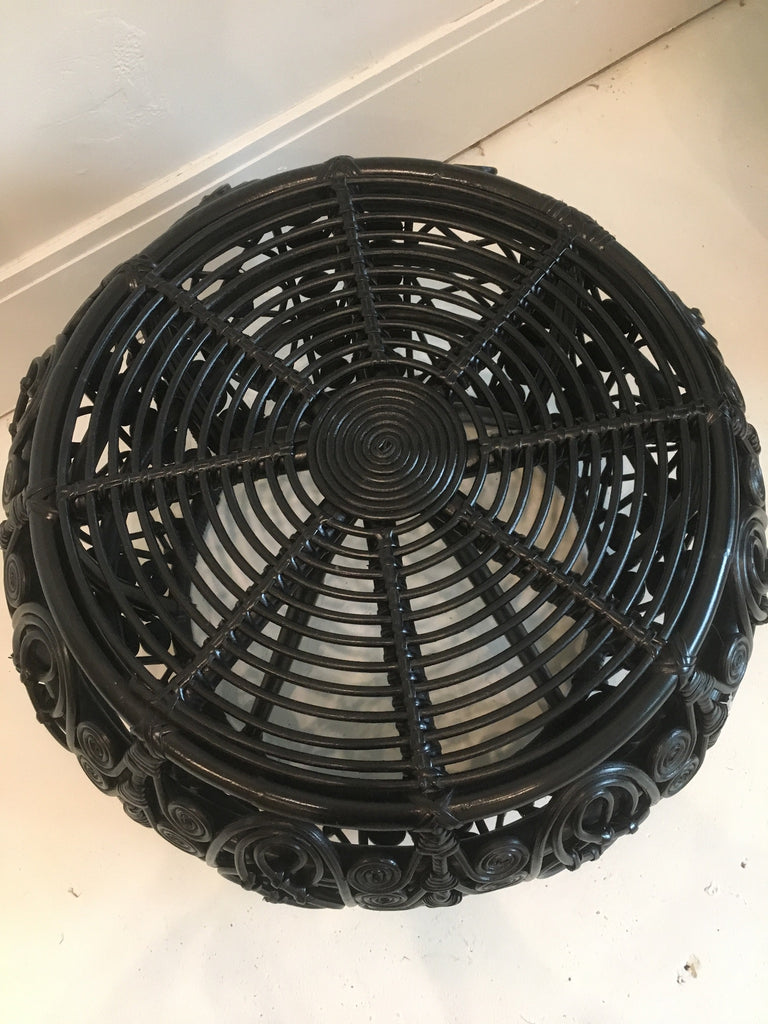 Peacock Rattan Stool - Black