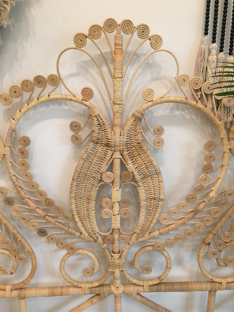 Queen Rattan Peacock Headboard - Natural