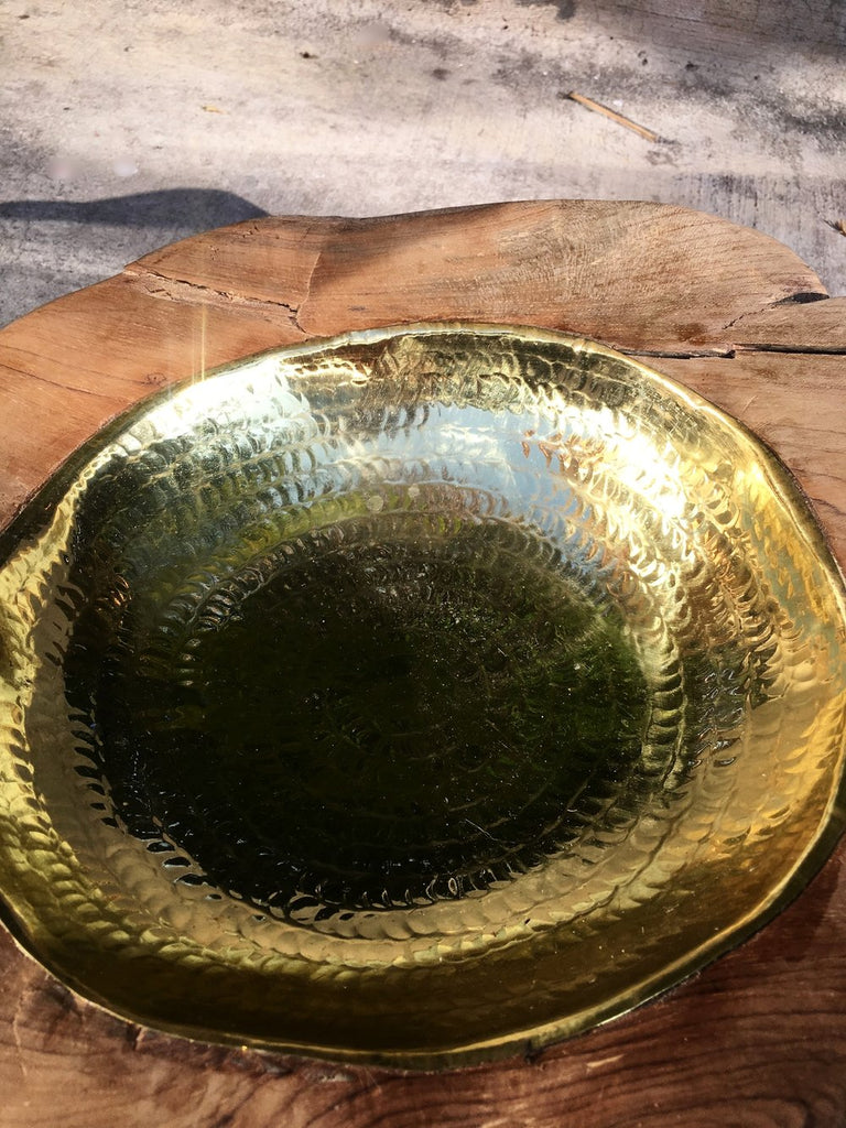 Natural Hand Hammered Teak Bowl - Brass