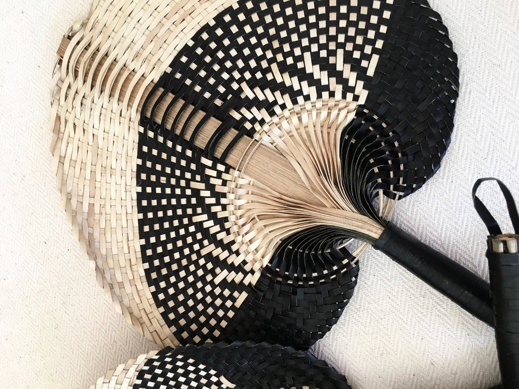 Handmade Natural/Black Palm Fan - SMALL