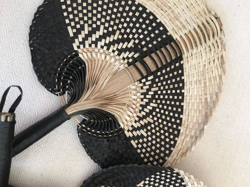 Handmade Natural XLarge Palm Fan - Black/Natural