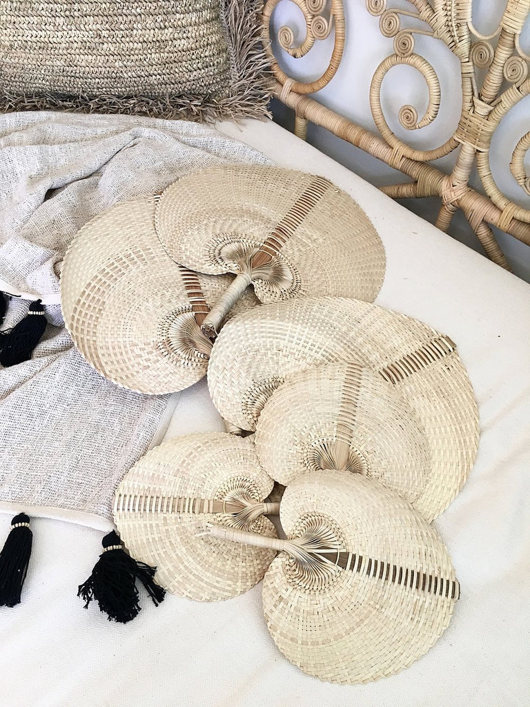 Handmade Natural XLarge Palm Fan - Natural