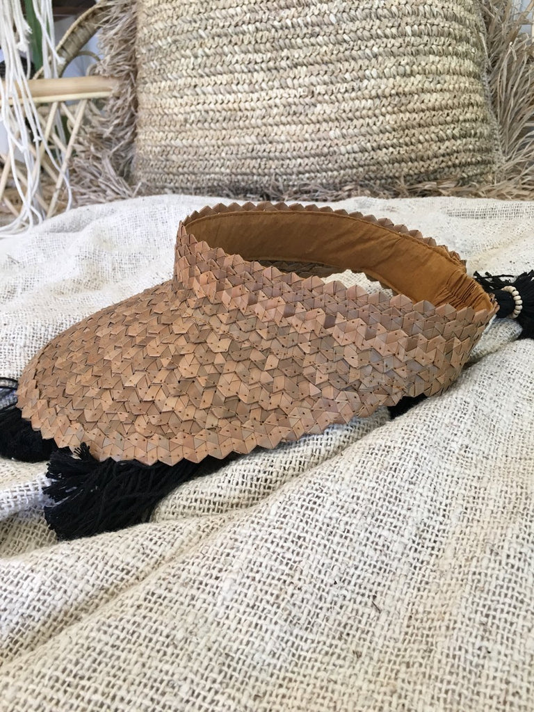 Natural Handmade Raffia Hat - Natural Brown