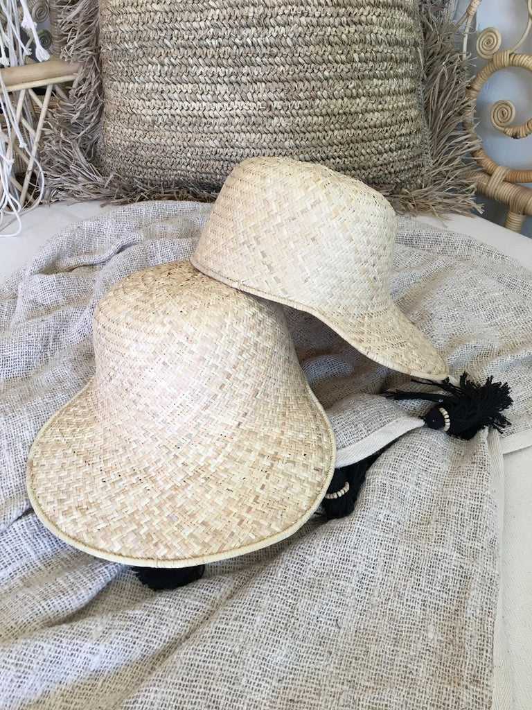 Natural Handmade Wide Bill Raffia Cap - Natural