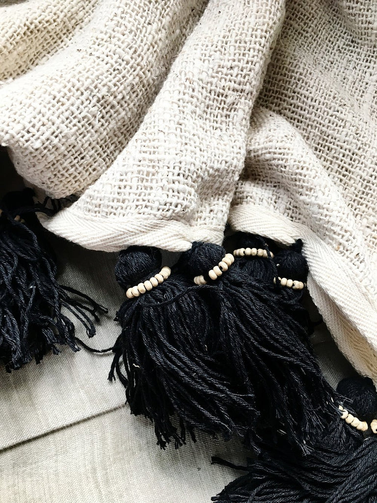 Handmade Organic Bali Cotton Blanket - Neutral / Black