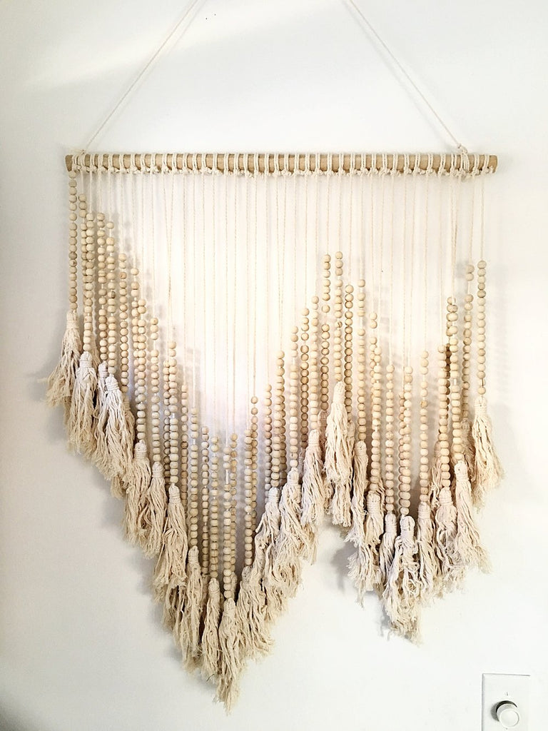 Medium Handmade Bali Beaded Wall Art - Natural