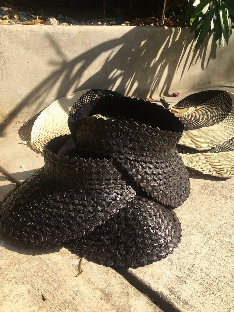 Natural Handmade Raffia Hat- Black