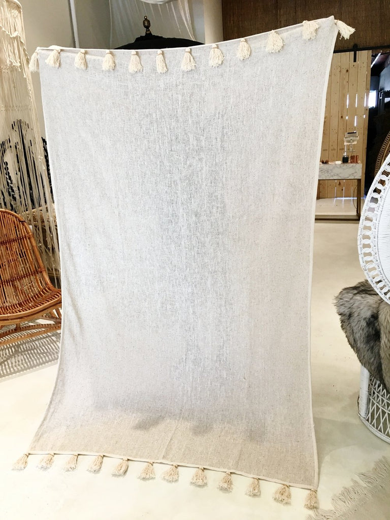 Hand Woven Cotton Blanket from Bali - Neutral