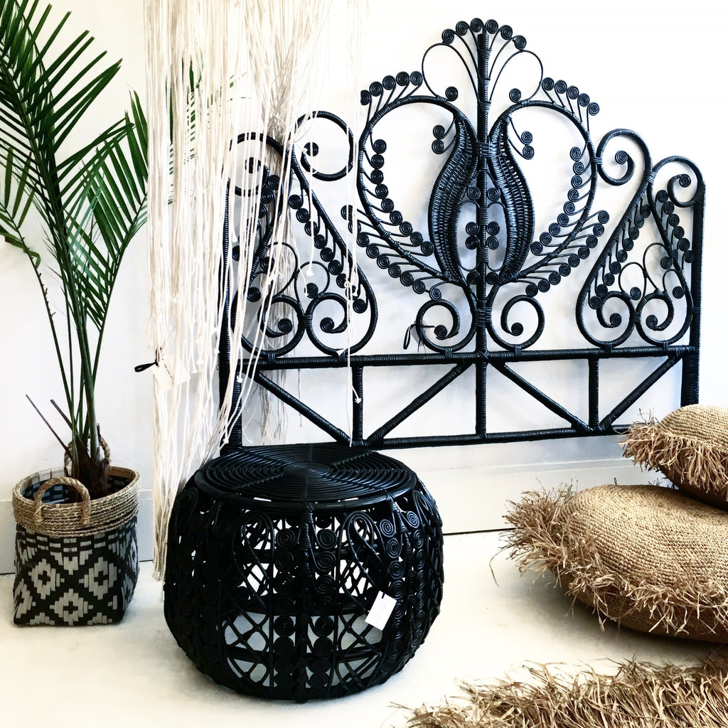 Classic Peacock Rattan Headboard Black- Queen