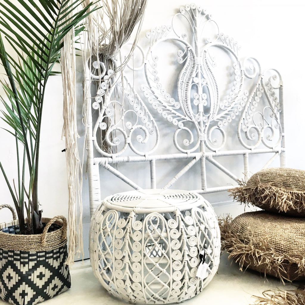 Classic Peacock Rattan Headboard White - Queen