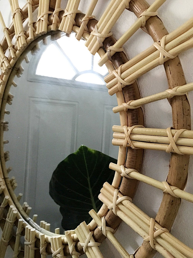 Preorder for November 2020 Arrival - Helios Rattan Mirror
