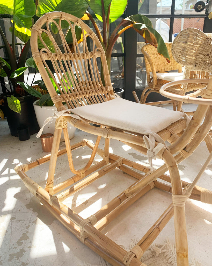 Hand Woven Kid / Children's Rattan Horse Rocker Toy Chair