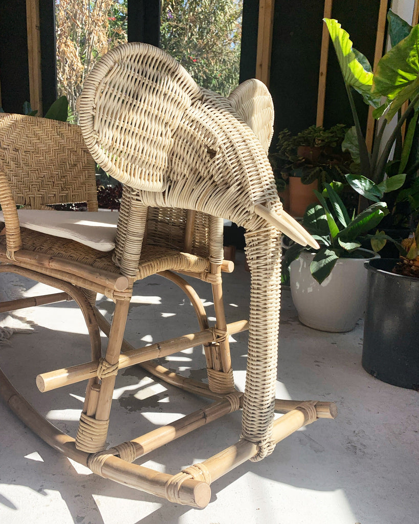 Hand Woven Kid / Children's Rattan Elephant Rocker Toy Chair - New!
