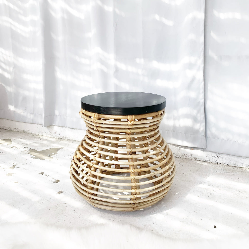 Curve Rattan Side Table / Stool with Wood Top - Black Top