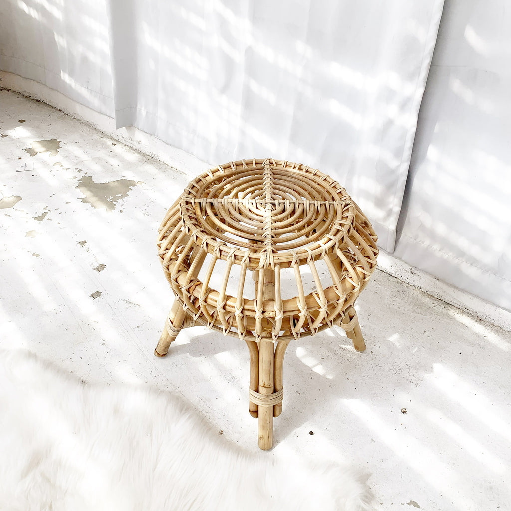 Scandi Rattan Side Table / Stool  - Natural