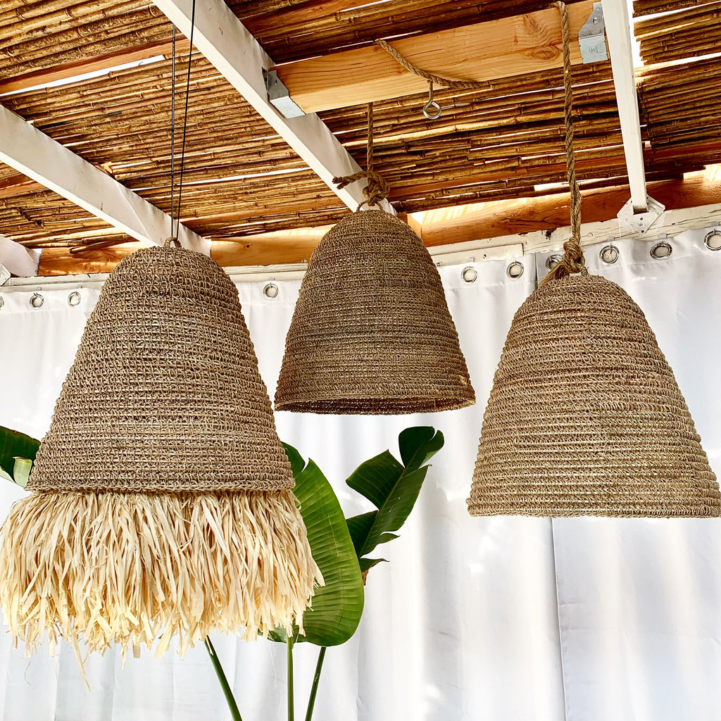 Seagrass w/ Fringe Rattan Natural Pendant Light Lamp - Back in Stock