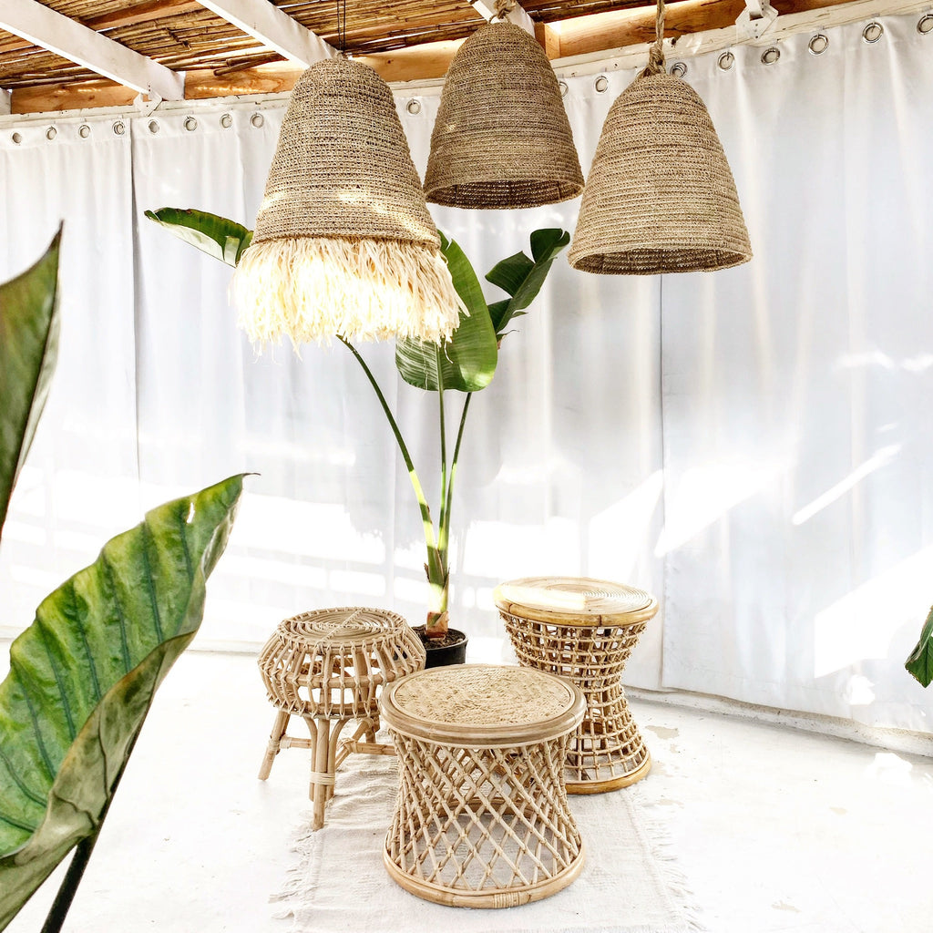 Seagrass w/ Fringe Rattan Natural Pendant Light Lamp