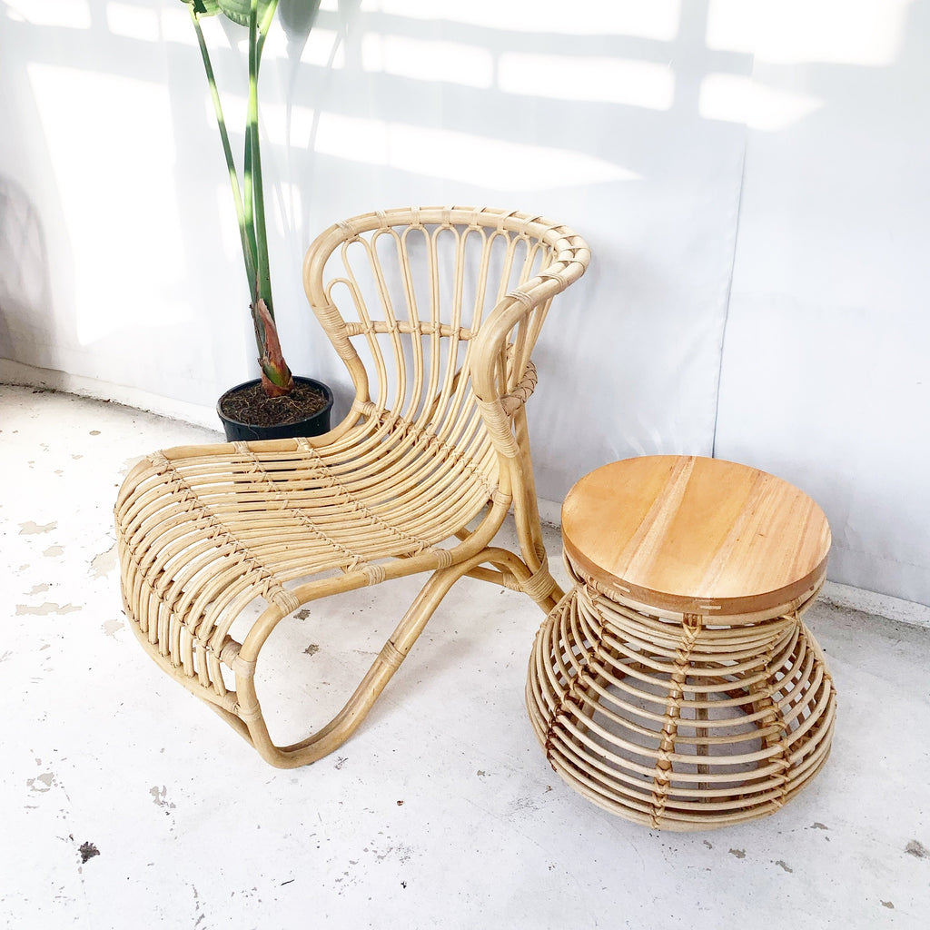 Curve Rattan Side Table / Stool with Wood Top - Natural
