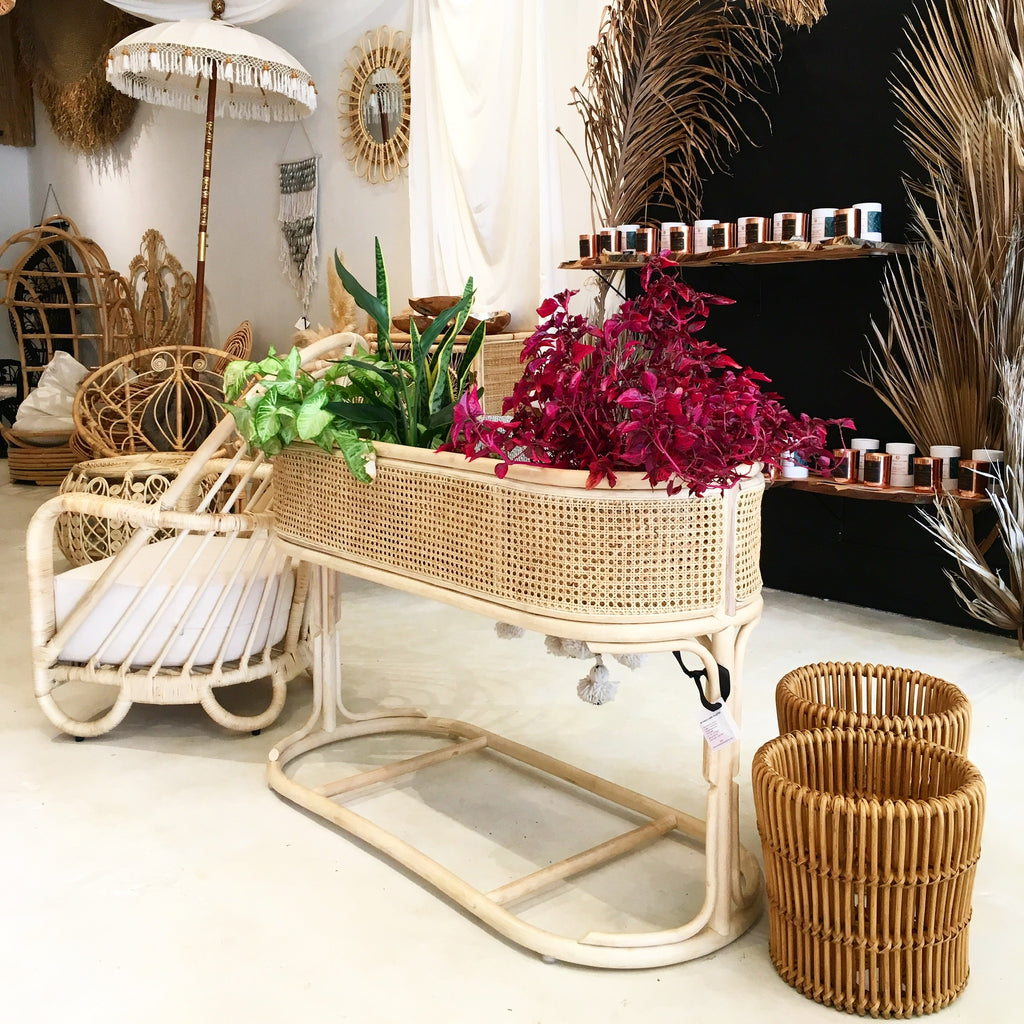 Botanica Double Caned Rattan Cubby/Planter -Natural/Natural