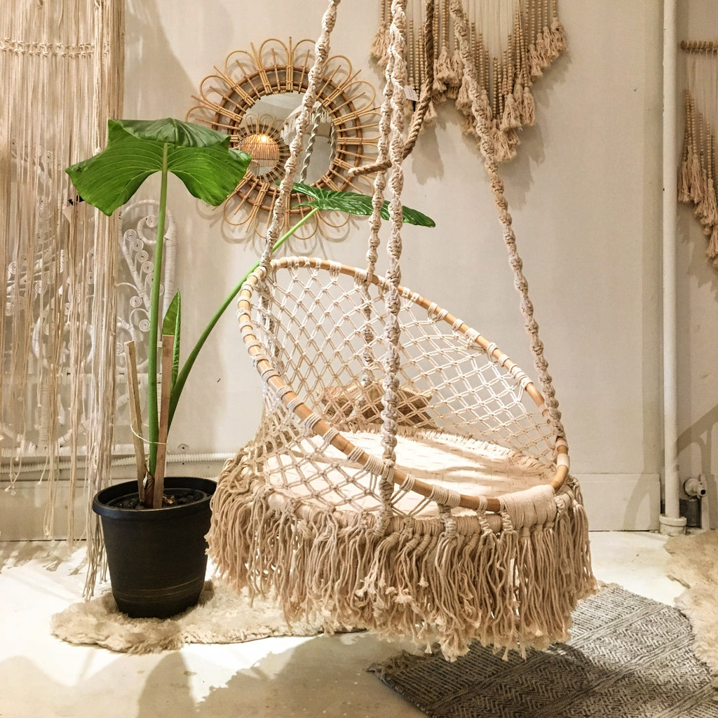 SPELL Macrame/ Rattan Hammock- Natural - Preorder for September 2019 Arrival