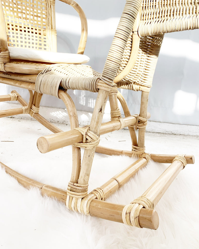 Hand Woven Kid / Children's Rattan Sheep Rocker Chair Toy