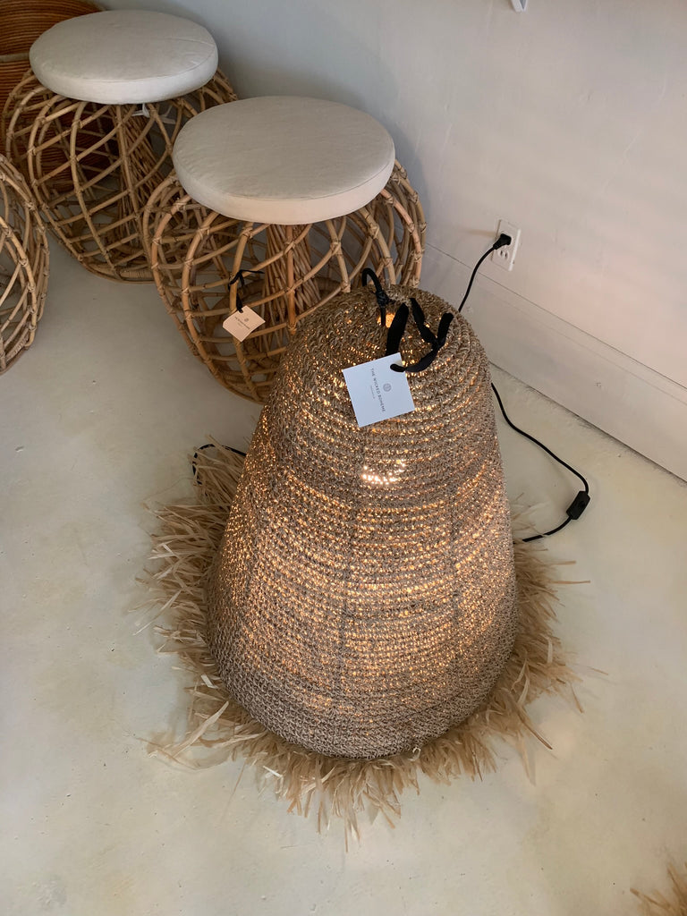 Seagrass w/ Fringe Rattan Natural Pendant Light Lamp - LG