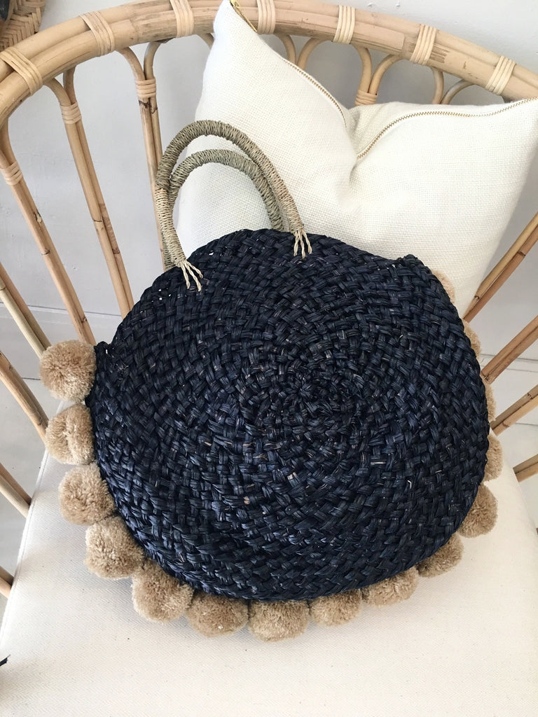 Black Mandala Round Bag w/ Natural Poms