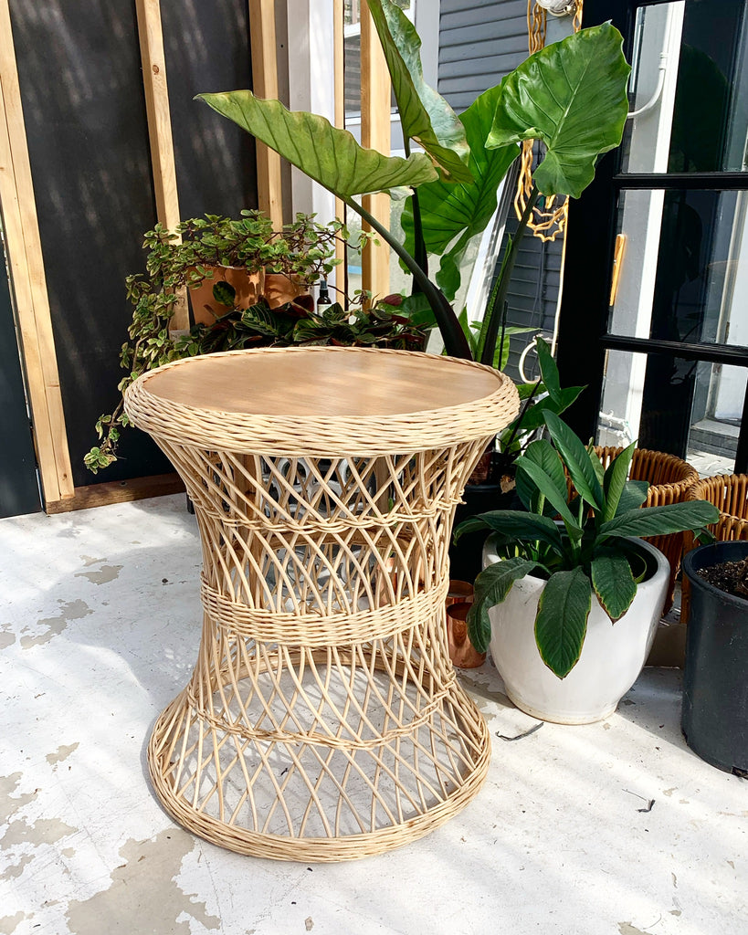 Lattice Wicker Rattan Table - Natural