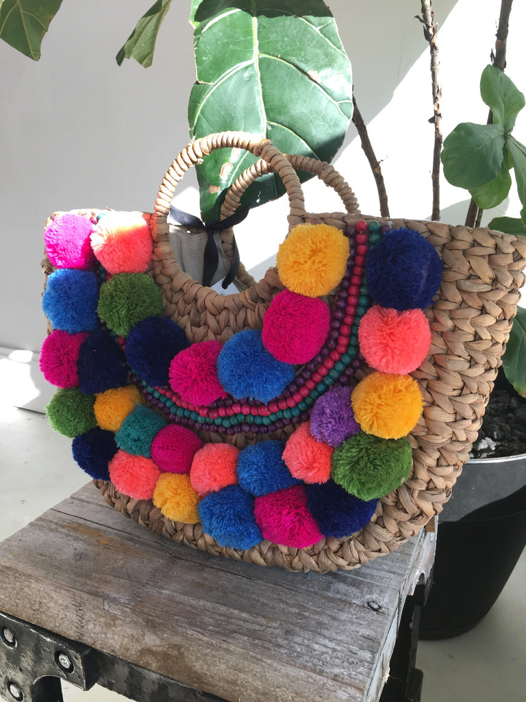 Natural Water Hyacinth Tote w/ Poms
