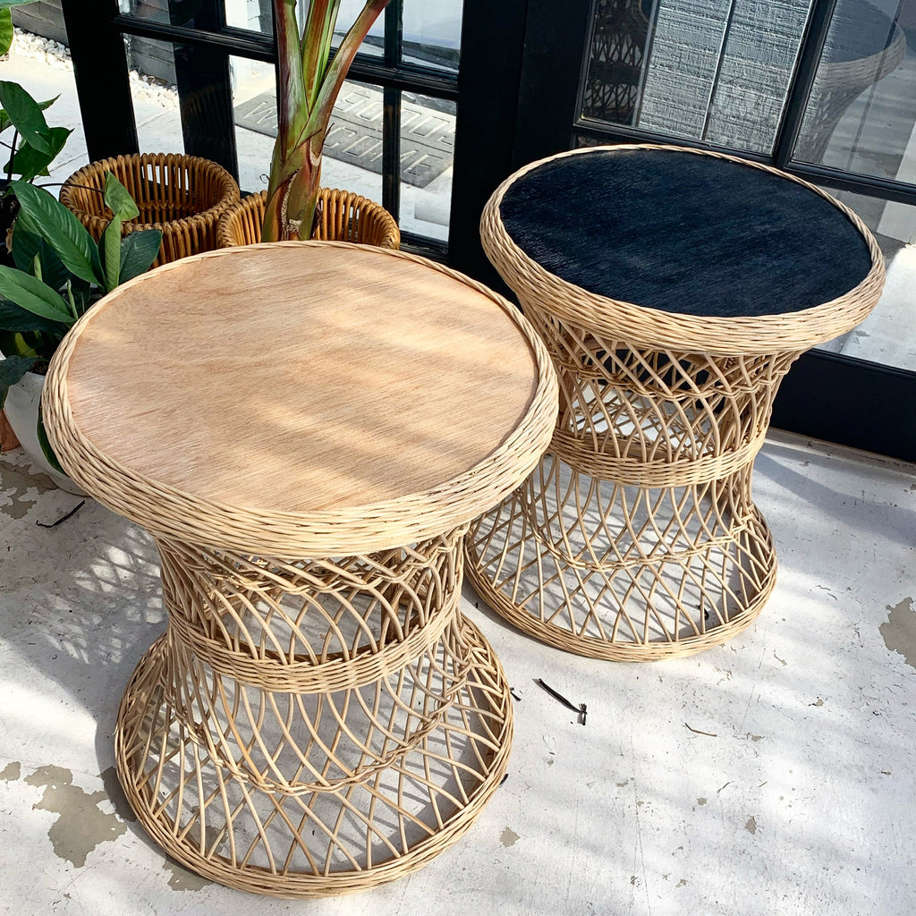 Lattice Wicker Rattan Table - Black / Natural