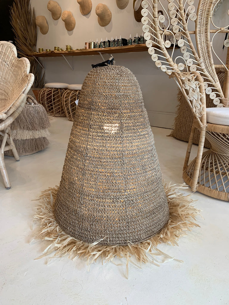 Seagrass w/ Fringe Rattan Natural Pendant Light Lamp - XLG