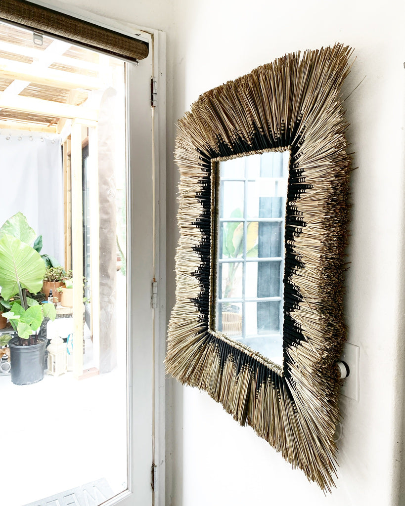 Amazing Extra Large Natural Seagrass Rattan Fiber Art Mirror