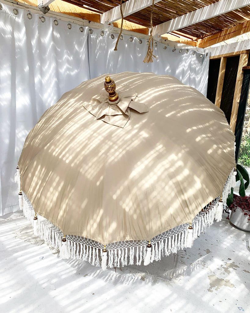 New! - 6ft Sand Dune Balinese Bali Ceremonial Umbrella with Natural Fringe