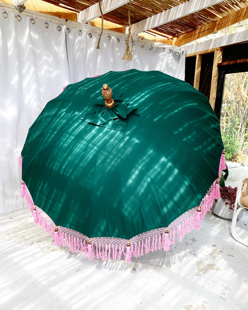 6ft Tropical Green Balinese Bali Ceremonial Umbrella with Cream Fringe